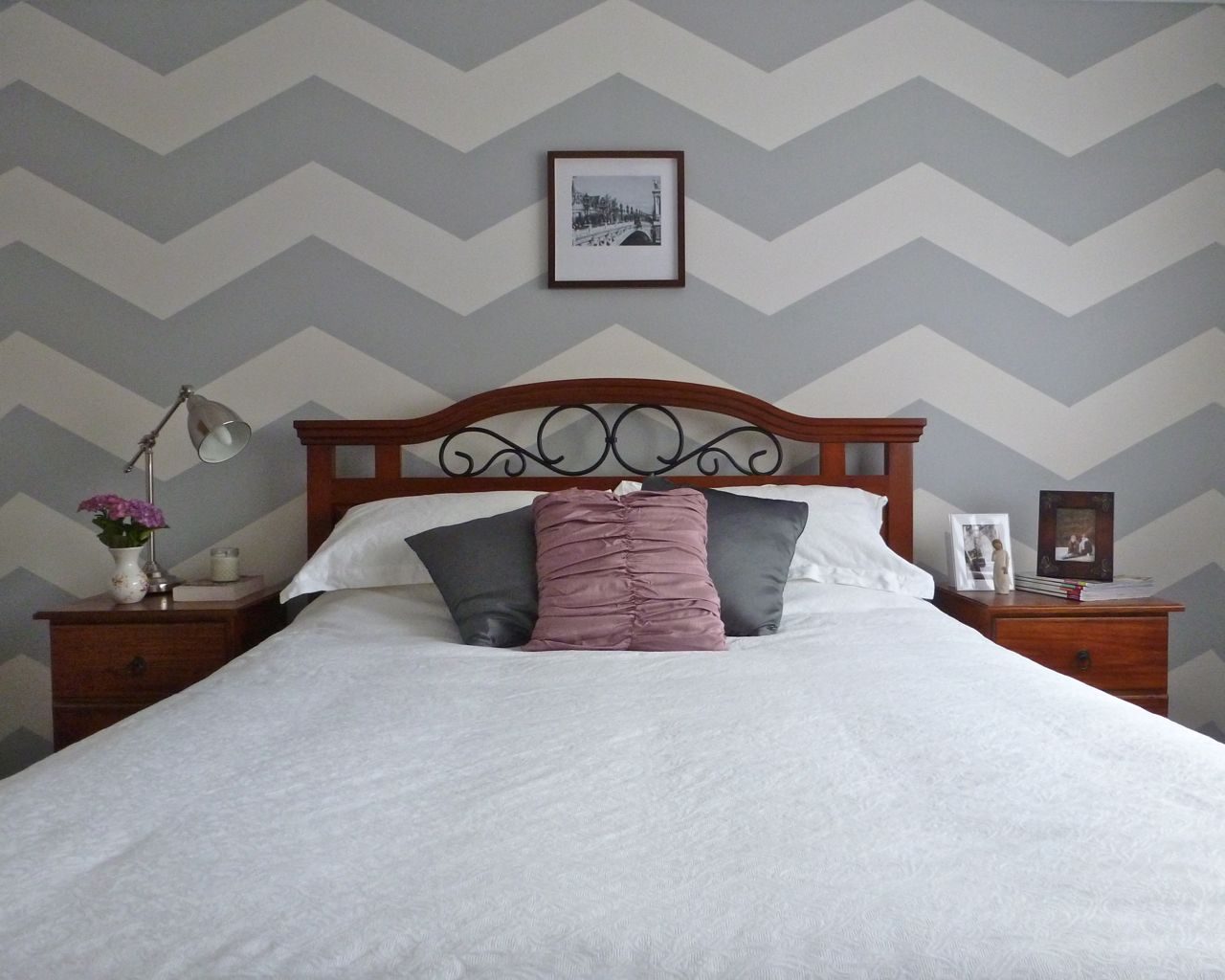 Bedroom wall patterns painting - Chevron Wall 5